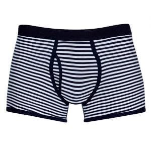 Sunspel Superfine Cotton Striped Trunks White / Navy