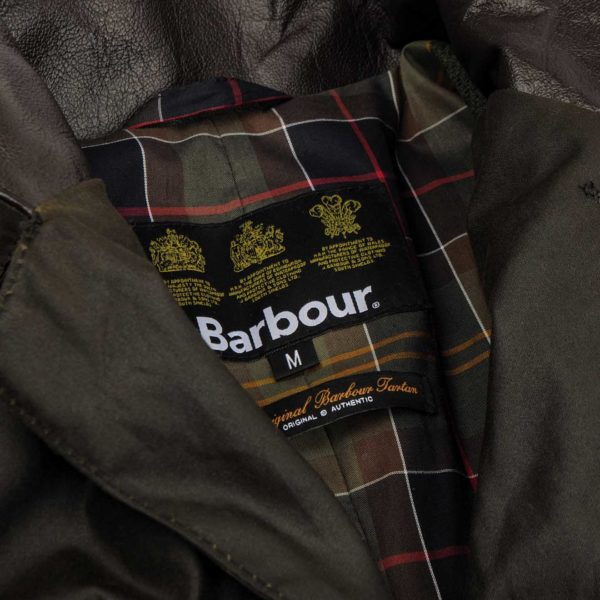 Barbour Beacon Sports Jacket Tartan Lining and Label Olive