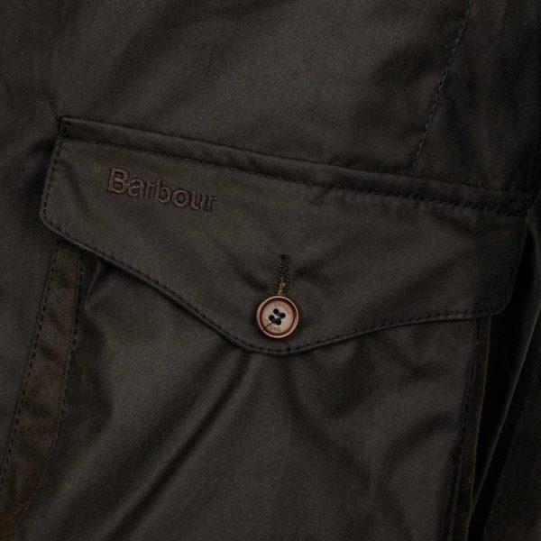 Barbour Beacon Sports Jacket Left Button Pocket Olive
