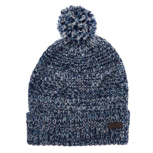 Barbour Croston Pom Beanie Hat Navy / Blue