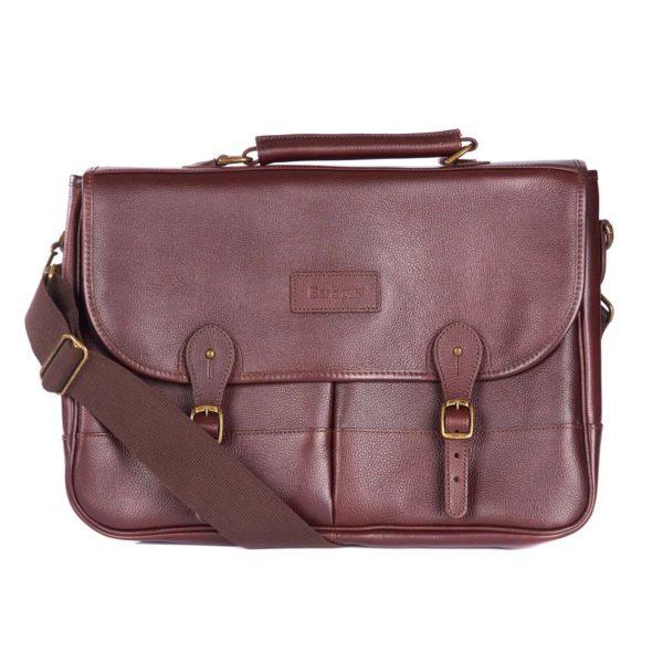 Barbour Leather Briefcase Dark Brown