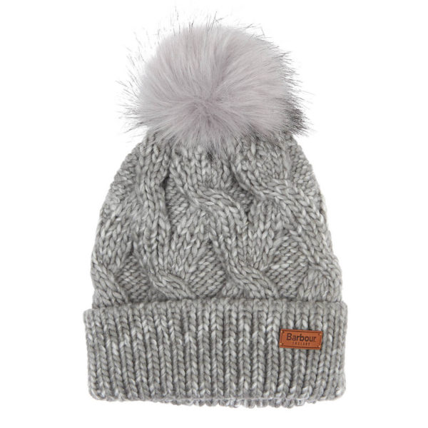 Barbour Womens Bridport Pom Beanie Grey