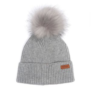Barbour Womens Dover Pom Beanie Hat Grey