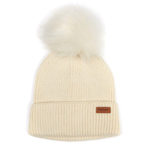 Barbour Womens Dover Pom Beanie Hat Cream