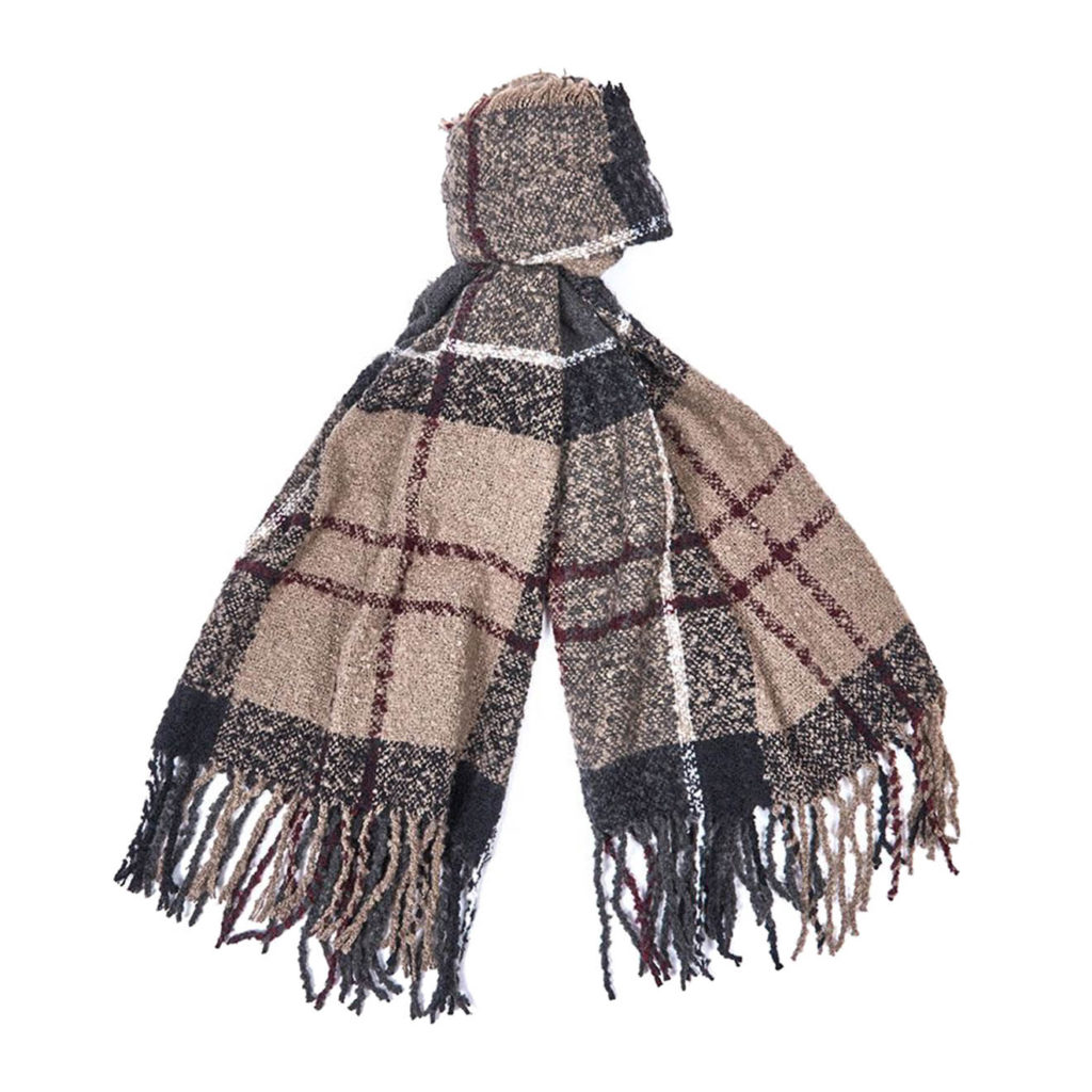 Barbour Womens Tartan Boucle Scarf Winter