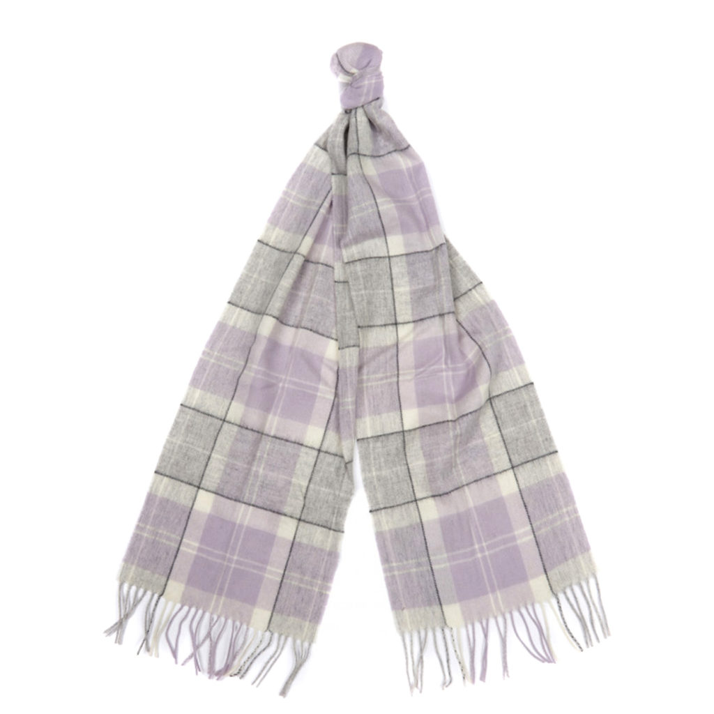 Barbour Womens Tartan Scarf Lilac Grey