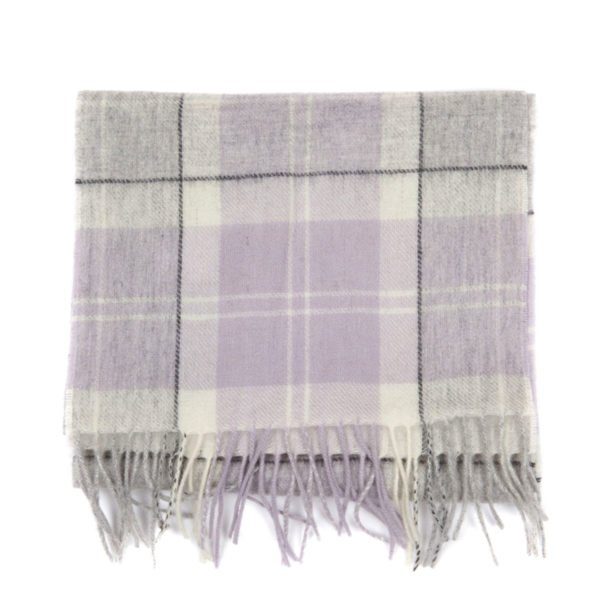 Barbour Womens Tartan Scarf With Fringing Edge Lilac Grey