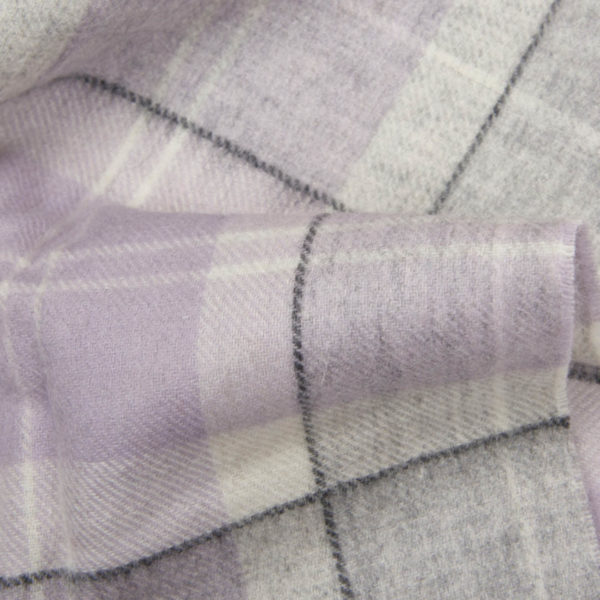Barbour Womens Tartan Lambswool and Cashmere Scarf Lilac Grey