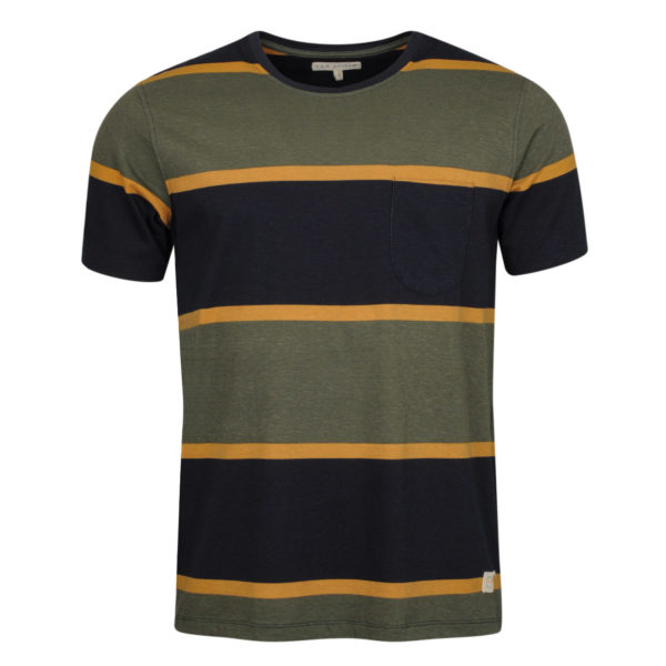 Far Afield Dos Stripe T-Shirt Beatle Green