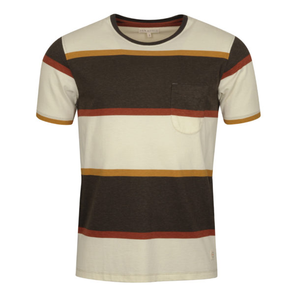 Far Afield Dos Stripe T-Shirt Gravel Navy 2