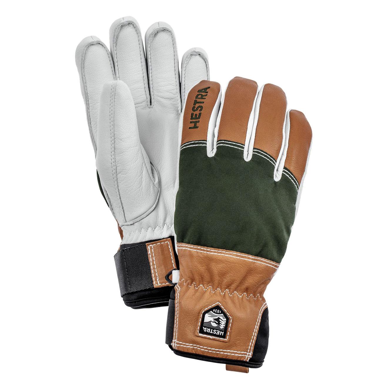 447720343663a Hestra Army Leather Abisko Mens Glove Dark Green - The Sporting Lodge