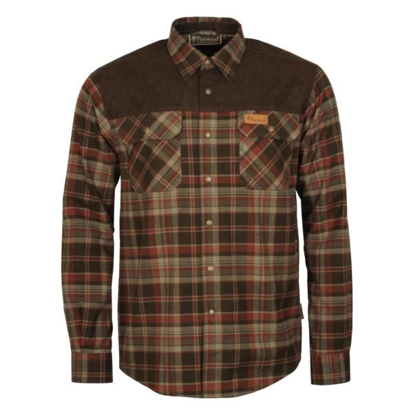 Pinewood Douglas Shirt Dark Green Brown