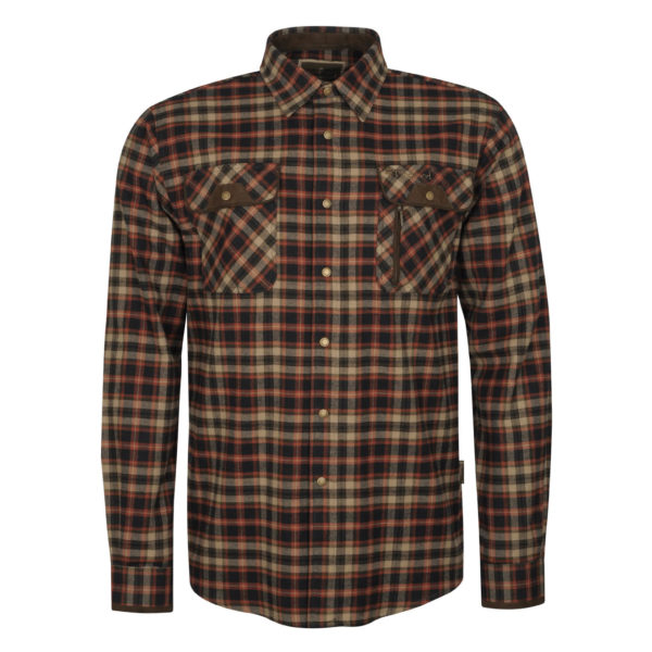 Pinewood Prestwick Check Shirt Dark Navy Dark Copper