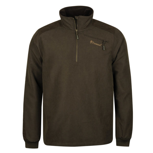 Pinewood Prestwick Sweater Half Zip Jacket Suede Brown