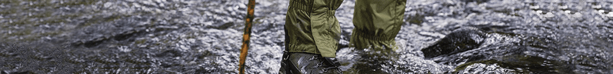 Man Wearing Gaiters for extra Protection and Insulation to the Lower Legs