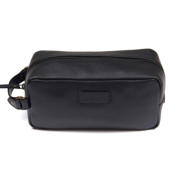 Barbour Compact Leather Wash Bag Black