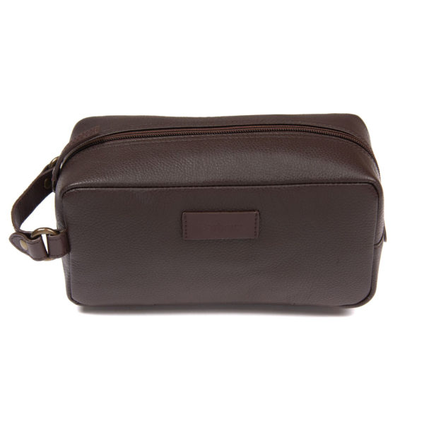 Barbour Compact Leather Wash Bag Brown