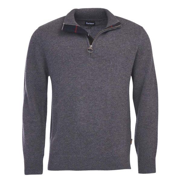 Barbour Holden Half Zip Knit Mid Grey