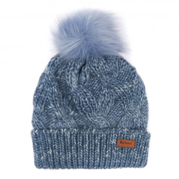 Barbour Womens Bridport Pom Beanie Mid Blue