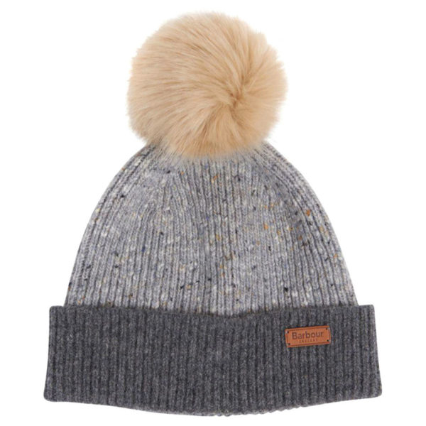 Barbour Womens Foreland Pom Beanie Light Grey