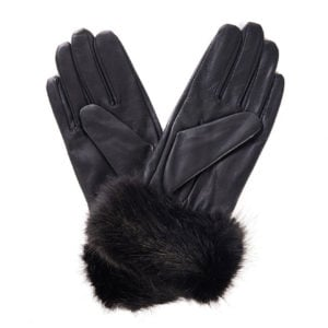 Barbour Womens Fur Trimmed Leather Gloves Dark Brown