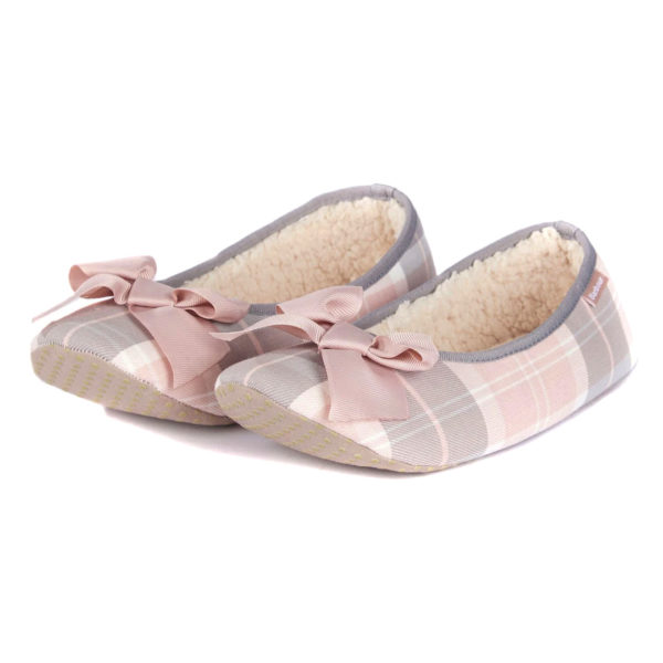 Barbour Womens Lily Slippers Pink Grey