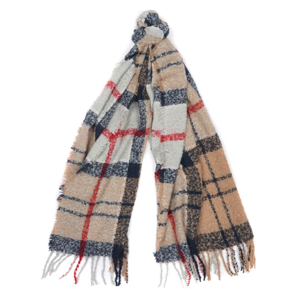 Barbour Womens Tartan Boucle Scarf Caramel