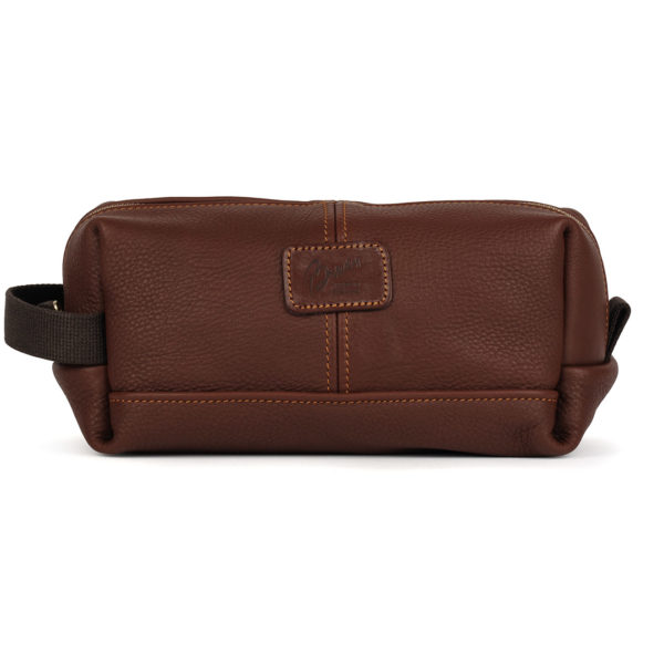 Brady Leather Wash Bag Chestnut Brown