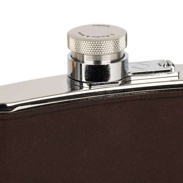 James Purdey 8oz Hand Stitched Leather Flask Brown 2