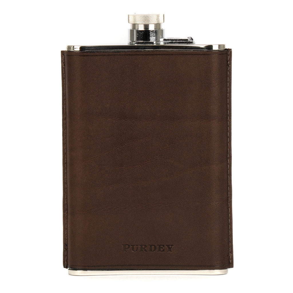 James Purdey 8oz Hand Stitched Leather Flask Brown 3