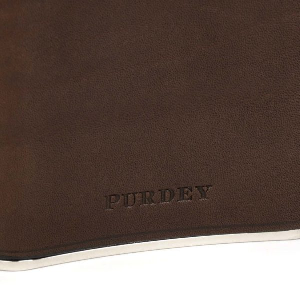 James Purdey 8oz Hand Stitched Leather Flask Brown