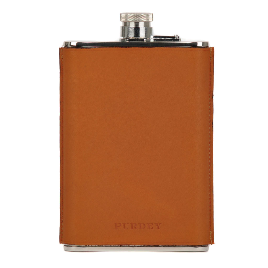James Purdey 8oz Hand Stitched Leather Flask Tan 3