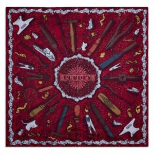 James Purdey Craftmanship Silk Scarf 90 x 90 Audley Red 2