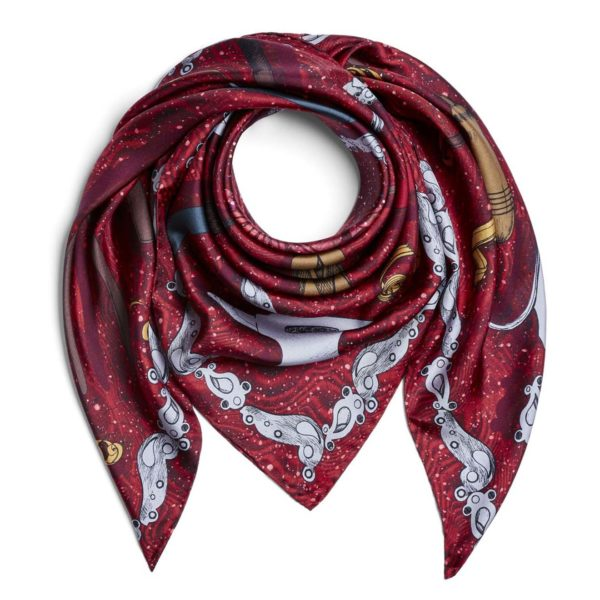James Purdey Craftmanship Silk Scarf 90 x 90 Audley Red