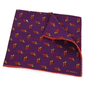 James Purdey Double Cartridges Silk Pocket Square Aster 2
