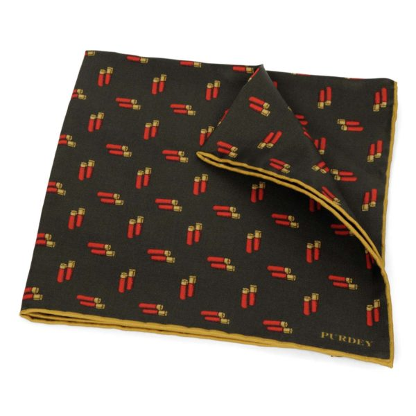 James Purdey Double Cartridges Silk Pocket Square Green 2