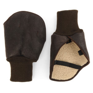 James Purdey Nappa Leather Suede Shooting Mittens Dark Brown