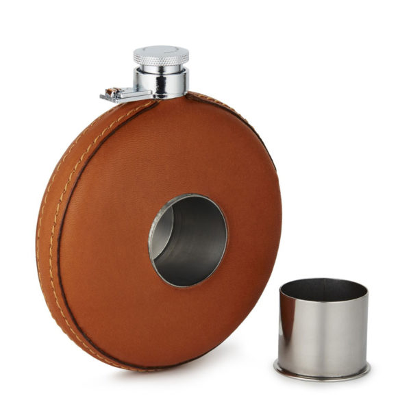 James Purdey Round Leather Flask With Tot Tan 2