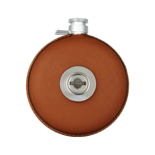 James Purdey Round Leather Flask With Tot Tan