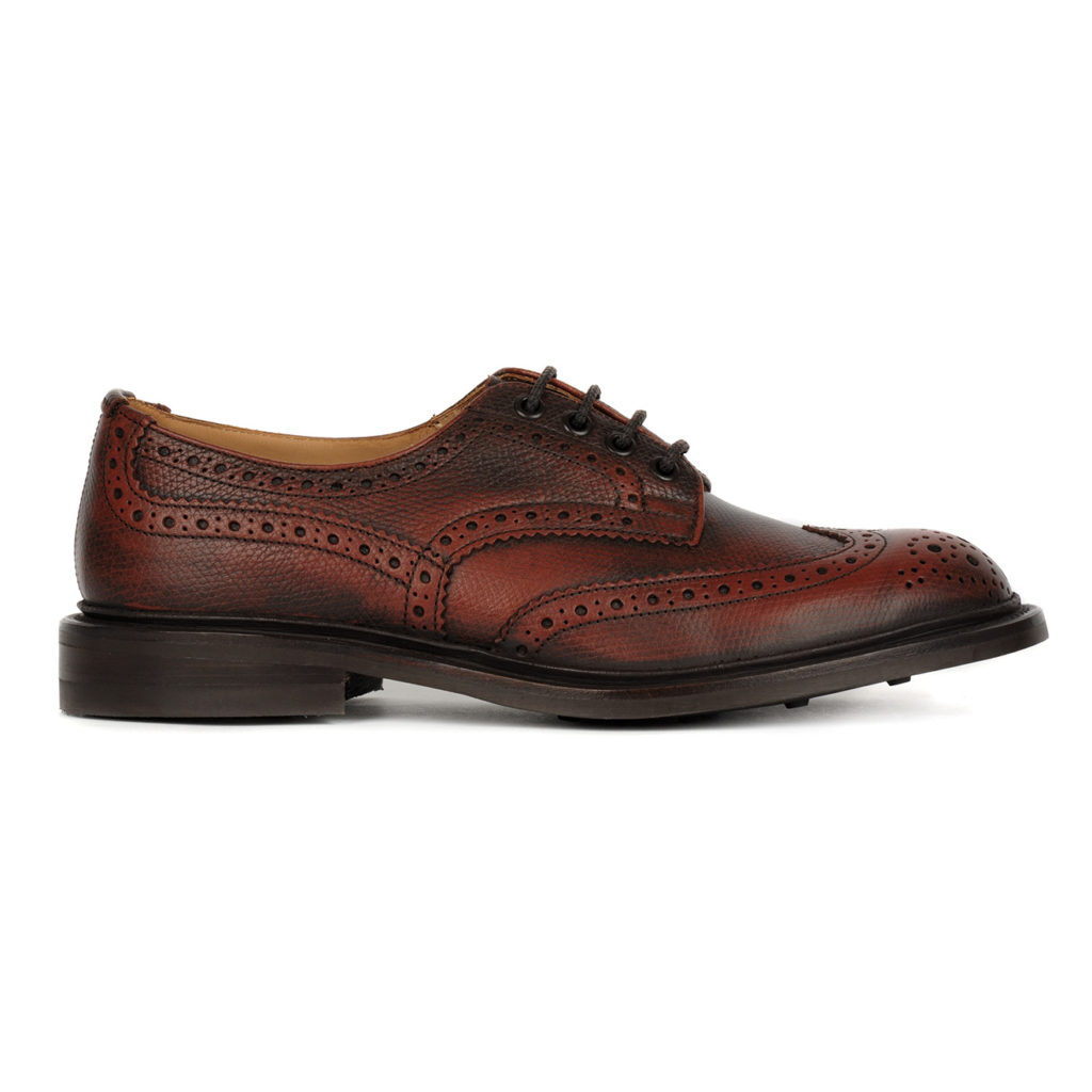 Trickers Bourton Brogue Shoe Derby Sole Veliero Burgandy 3