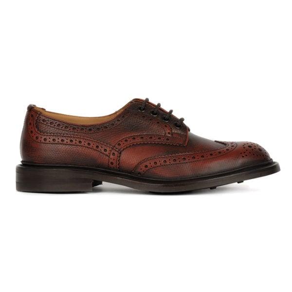 Trickers Bourton Brogue Shoe Derby Sole Veliero Burgandy 3