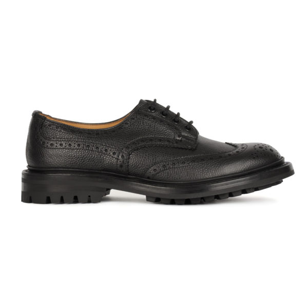 Trickers Ilkley Brogue Shoe Derby Sole Black Scotch Grain 3