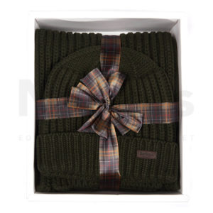 Barbour Chunky Rib Knitted Hat / Scarf Giftset Green