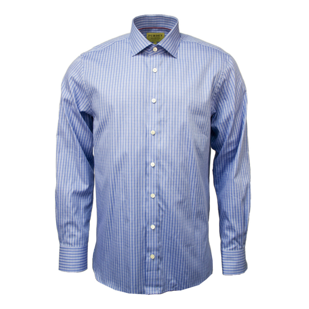 James Purdey Double Check Shirt Blue