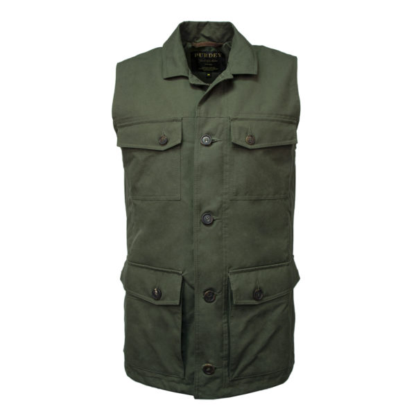 James Purdey Percival Safari Gilet Olive Green