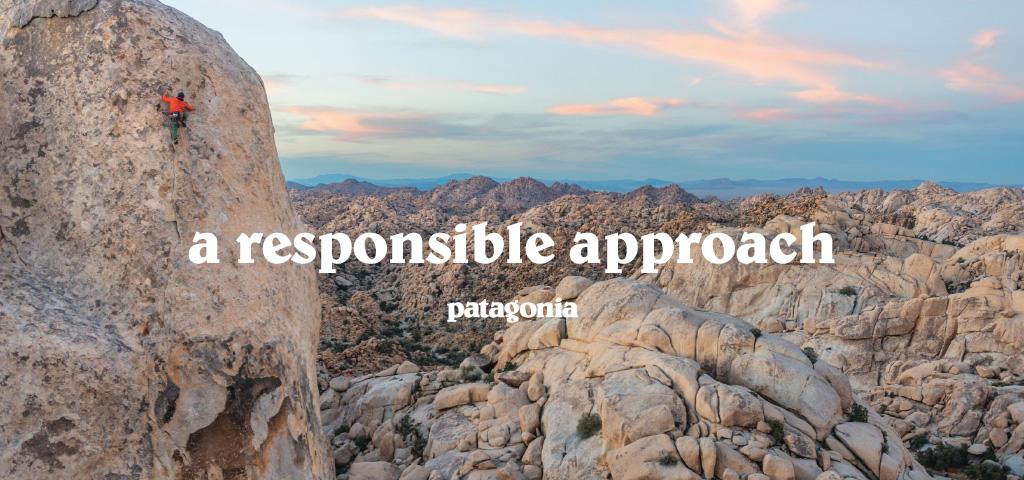 Man Climbing Rocky Peak in Mountainous Landscape Wearing Patagona Outdoor Gear