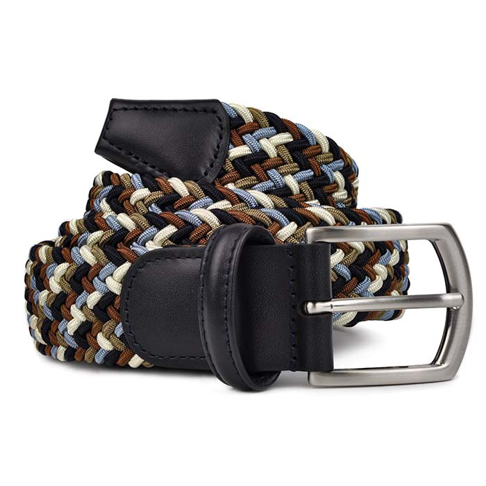 Andersons-B0667-Woven-Textile-Belt-Brown Navy and White