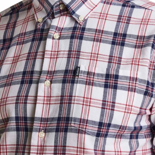 Barbour Oxford Check 3 Tailored LS Shirt Single Chest Pocket, Rich Red