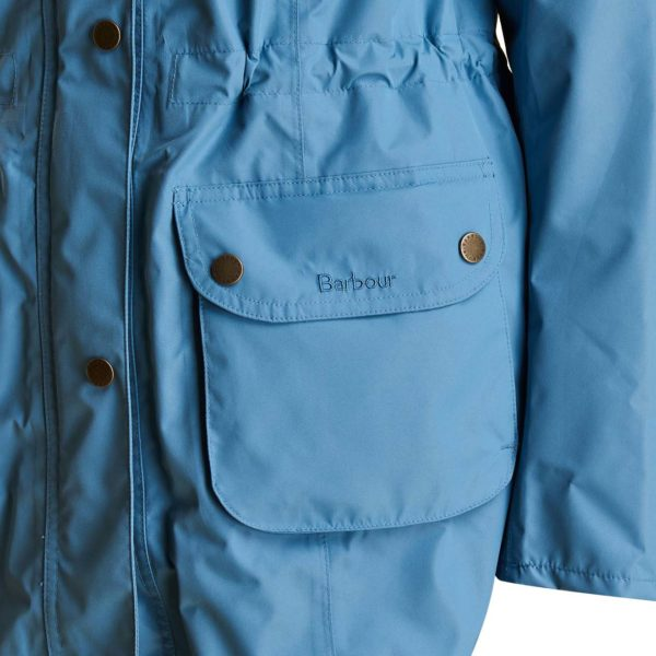 Barbour Womens Aire Waterproof Breathable Jacket Bellowed Pocket Blue Heaven