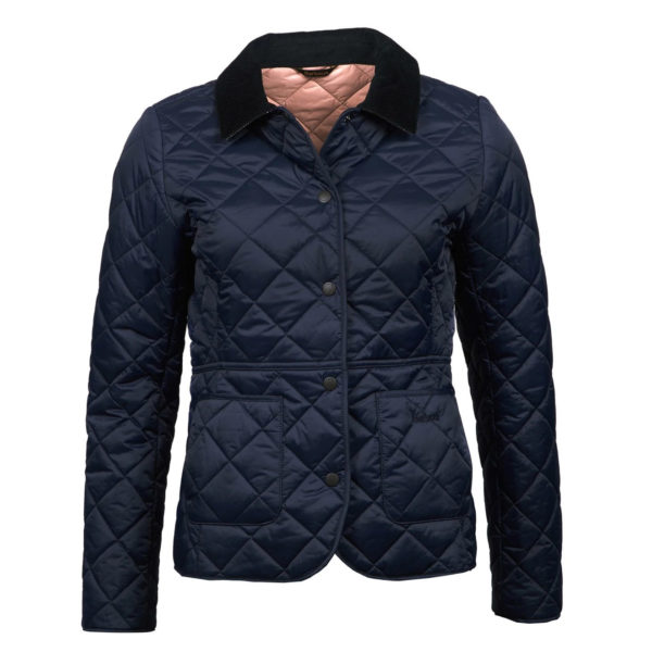 Barbour Womens Deveron Quilted Jacket Navy Pale Pink